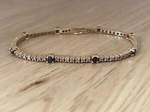 Magnificent Vintage 18ct Gold Diamond & Sapphire 3.75ct Tennis Bracelet & Box