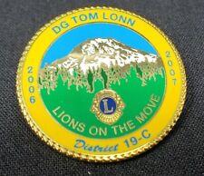 Lion's Club Commemorative DG Tom Lonn 2006-2007 District 19-C Enamel Pin EUC