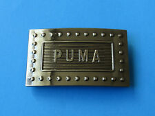 PUMA Black Chrome Belt Buckle - 3D Raised Letters Embossed Rectangle Fashion