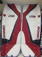 "New DR X5 Jr ice hockey goalie pads White/Black/Red 28"" inch junior goal leg pad"