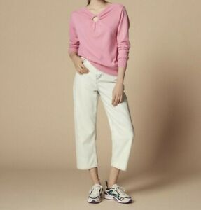 SANDRO PARIS Rich Pink Wool & Cashmere V Neck Knitwear Jumper Sweater