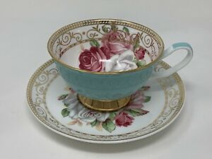 Grace Tea Ware Turquoise Teal Rose Teacup & Saucer Gold Trim Coffee Tea Cup Mug