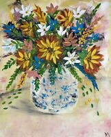 "OIL PAINTING "" 3D flowers Art In Vase Canvas Stretch 20"" X 16 by Angela"