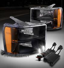 FOR 07-13 GMC SIERRA 1500 2500 3500 HD AMBER BLACK HEADLIGHTS LAMP W/50W 6K HID
