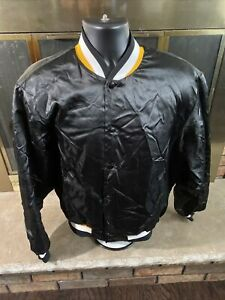 Vintage St. Olaf Lions Football NCAA Satin Snap Jacket Mens Large Black Yellow