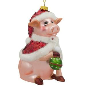 Pig in Santa Hat Ornament Glass Christmas Ornament 4.75 Inches