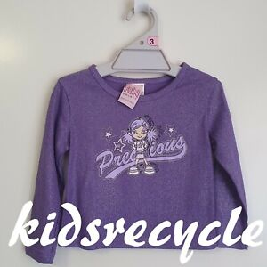 "FUN SPIRIT ""PRECIOUS"" Purple GLITTER Long Sleeve TOP < Size 3 > NEW"