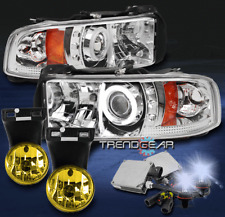 1994-2001 DODGE RAM CCFL HALO LED PROJECTOR HEADLIGHT+YELLOW FOG LAMP+8K HID KIT