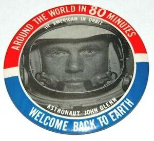 1962 JOHN GLENN Astronaut pin pinback button space NASA Around World 80 Minutes
