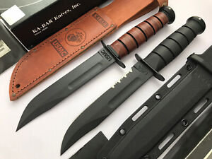 Lot Of 2 Fixed Blade Knives Kabar 1217 1214 ( US Made ) + Bonus Kershaw Folder