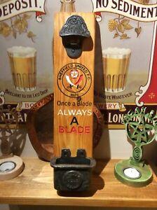 Sheffield United.  Wall Mounted Bar Sign Bottle Opener