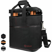 Insulated Wine Carrier Tote Bag 6 Bottle Padded Carry Cooler Bag with Dividers