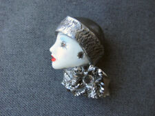 Vintage rhinestones leather hat & collar plastic woman face pin signed