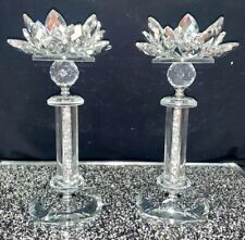 CRUSHED DIAMOND SILVER CRYSTAL PAIR OF LOTUS CANDLESTICKS