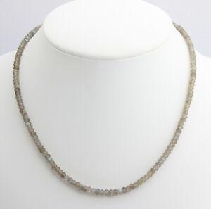 Labradorite Necklace Precious Stone Faceted Blue Schmmier Women's ca.17 11/16in