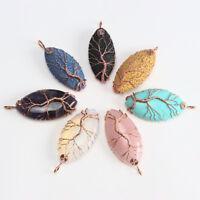 Natural Gemstones Olivary Rose Gold Wire Tree of Life Reiki Chakra Pendant