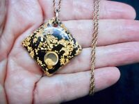 Authentic Vintage 1950's Faux Gold Flake Lucite Pendant/Necklace