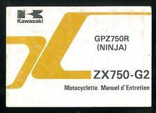 Manuel d'Entretien du Propriétaire KAWASAKI ZX 750 G2 NINJA GPZ 750R en Français