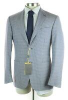 $1795 CANALI 1934 Kei Travel White Blue Check Wool Silk Coat Jacket 38 Fits 40 R