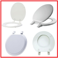 TOILET SEAT Replacement Standard Front Round Closed Wood Seat Hinges Gloss White