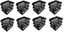 24 BLACK A4 Letter Filing In Out Desk Trays + 16 Risers Stacking Paper Office