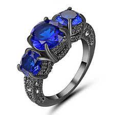 Size 7 Round Cut Blue Sapphire Big Stone Wedding Ring 18K Black Gold Fillled