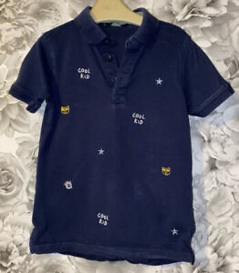 Boys Age 5-6 Years - Navy Blue Polo T Shirt Top