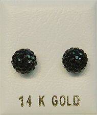 New 14k Gold Black Crystal Ball 7mm Earring Studs-Free Shipping