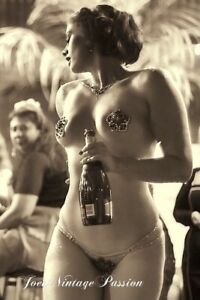 "Pin Up Burlesque Dancer Nipple Pasties w/Champagne 4""x6"" Reprint Photo BU87"