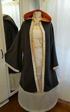 Mantel Mittelalter Gothic Larp Gr 50 52 54 Umhang Überwurf grau orange Fleece