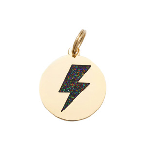 Pet ID Tag - Lightning Bolt - Black & Gold