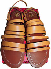 87d69a3e808 Tory Burch Patos Flat Strappy Sandals Slides Ankle Strap Shoes 10.5 Tan  Leather