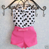 Kids Girls Dot T-shirt Blouse Tops+Pink Bowknot Hot Pants Shorts Clothes Outfits