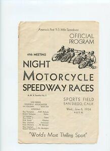 VERY RARE - 1934 Motorcycle Race Program 49th - San Diego Sports Field - VINTAGE