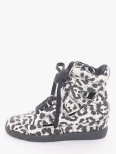 Qupid Black White High Top Leopard Print Fabric Tie up Sneakers. Size 5.5.