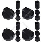 4 X Fully Universal Cooker Oven Hob Black Control Knobs With Adaptors