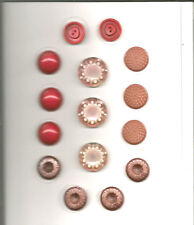 15 COLLECTIBLE PLASTIC BUTTONS IN 4 STYLES - PINK & RED