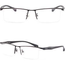 Half Rim Mens Titanium Frame Rectangular Square Metal Prescription Glasses Black