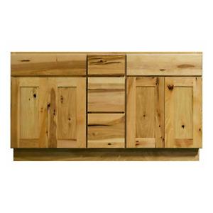 "Knotty Hickory Shaker 60"" Bathroom Vanity Double Sink Base Cabinet"