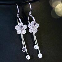 18K White Gold GF Simulated Diamond Shiny Flower 2x Chain Drop Dangle Earrings