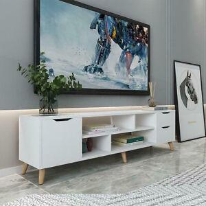 Modern TV Cabinet Stand Unit Wooden Media Storage Space Shelves W/ Doors Drawer