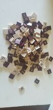 Lot of 187 Natural Tan & Maroon Scrabble Letter Tiles Crafts or Replacements