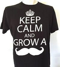 Keep Calm And Grow A Mustache XL Black T Shirt Hipster Facial Hair Tee White