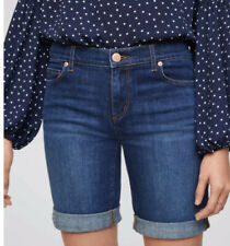 NWT Ann Taylor Loft Modern Denim Bermuda Shorts Size 26/2 Dark Indigo Wash