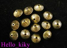 100PCS Antiqued gold plt conrrugated bicone spacers A620