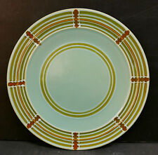 Vintage Pacific Pottery Dinner Plate #613 Green Railroad Track Pattern