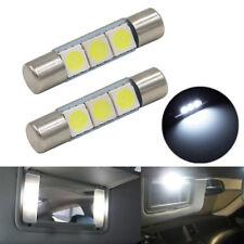 2 Xenon White 3-SMD 6641 LED Bulbs For Car Vanity Mirror Lights Sun Visor Lamp