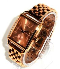 MOVADO ESQ $395 MEN'S SQUARE ROSE GOLD SWISS WATCH, SECONDS IN SUB DIAL 07101409