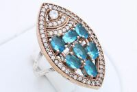 925 Sterling Silver Turkish Jewelry Shiny Oval Aquamarine Topaz Ring Size 7.5