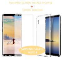 Film Incurvé Intégral Total Samsung Galaxy NOTE 8 + Coque silicone transparente